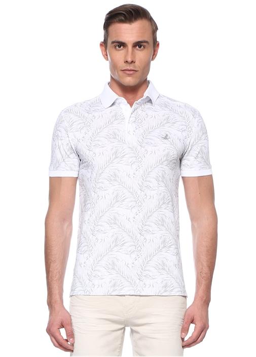 Slim Fit Beyaz Yaprak Desenli Polo YakaT-shirt