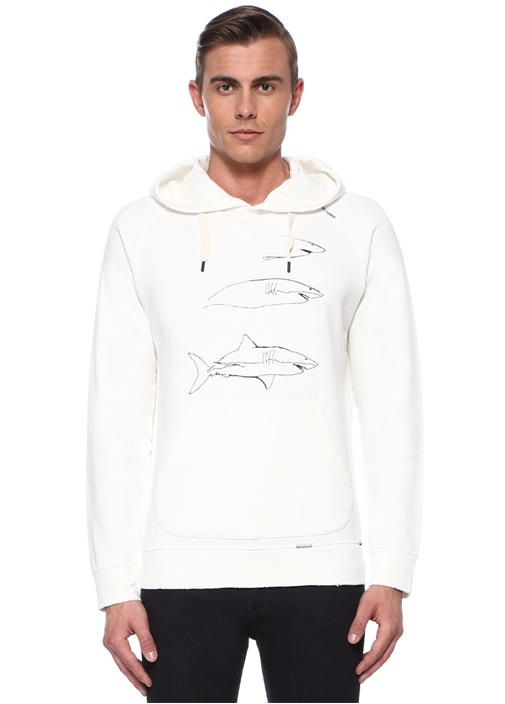 Ekru Kapüşonlu Köpek Balığı Baskılı Sweatshirt