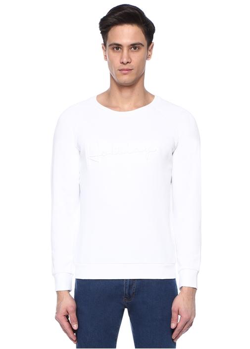 Holiday Kabartmalı Beyaz Bisiklet Yaka Sweatshirt