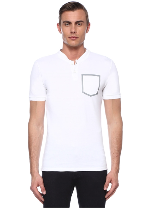 Slim Fit Beyaz Baskı Detaylı T-shirt