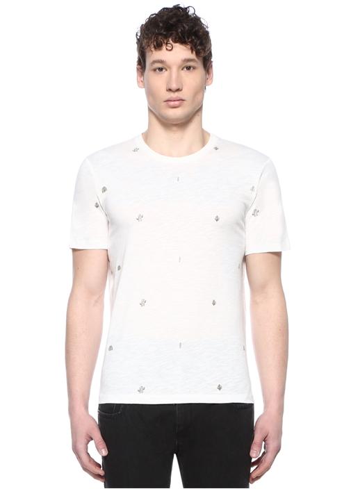 Beyaz Bisiklet Yaka Karışık Baskılı T-shirt
