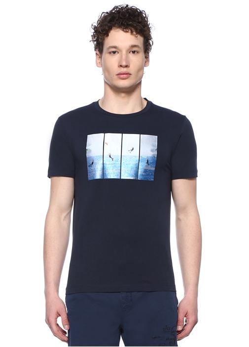 Lacivert Deniz Baskılı Basic T-shirt