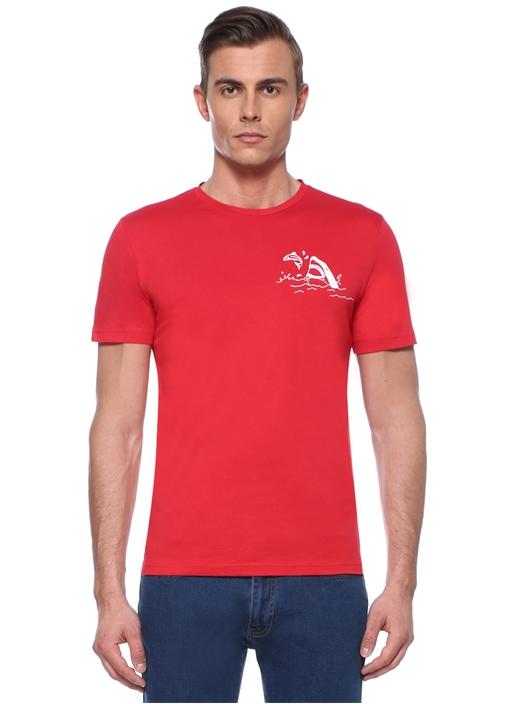 Kırmızı Bisiklet Yaka Palmiye Baskılı T-shirt