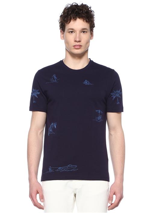 Lacivert Nakışlı Basic T-shirt