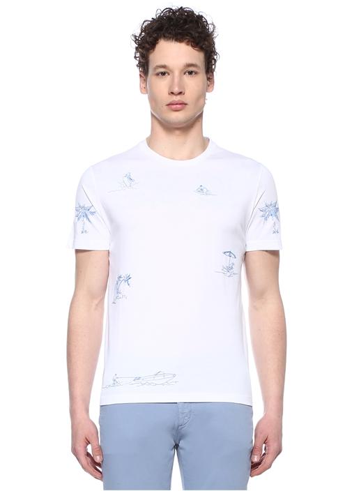 Beyaz Nakışlı Basic T-shirt