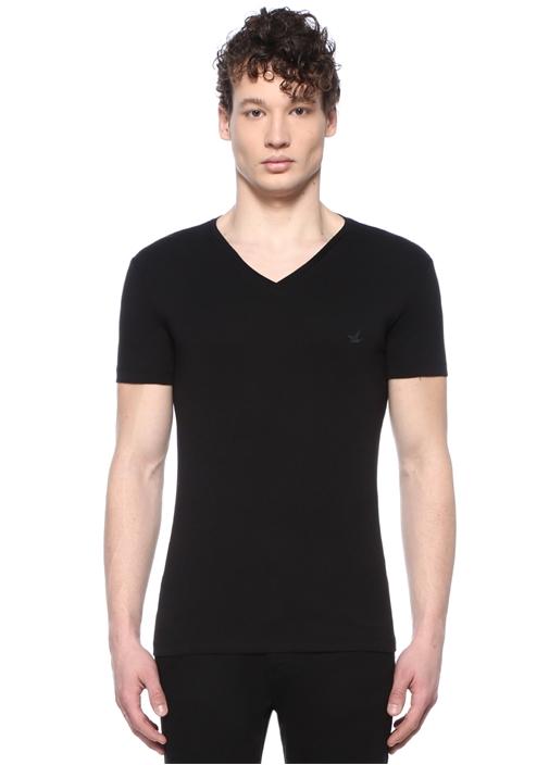 Siyah Beyaz Logolu 2li T-shirt Seti