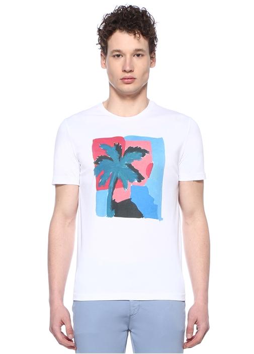 Beyaz Bisiklet Yaka Palmiye Baskılı T-shirt