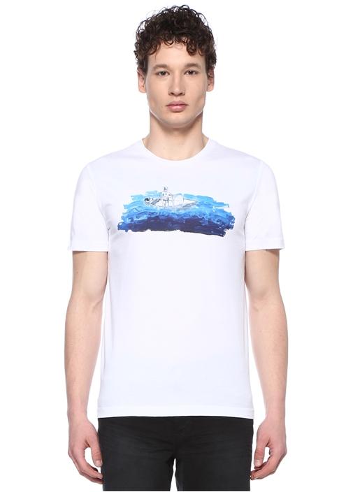 Beyaz Bisiklet Yaka Tekne Baskılı T-shirt