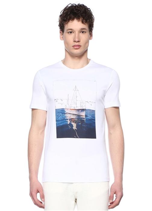 Beyaz Bisiklet Yaka Yelkenli Baskılı T-shirt