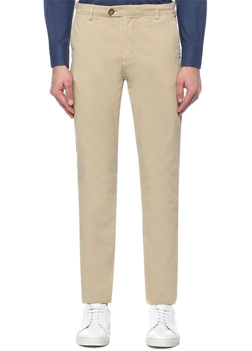 Slim Fit Bej Panama Dokulu Spor Pantolon