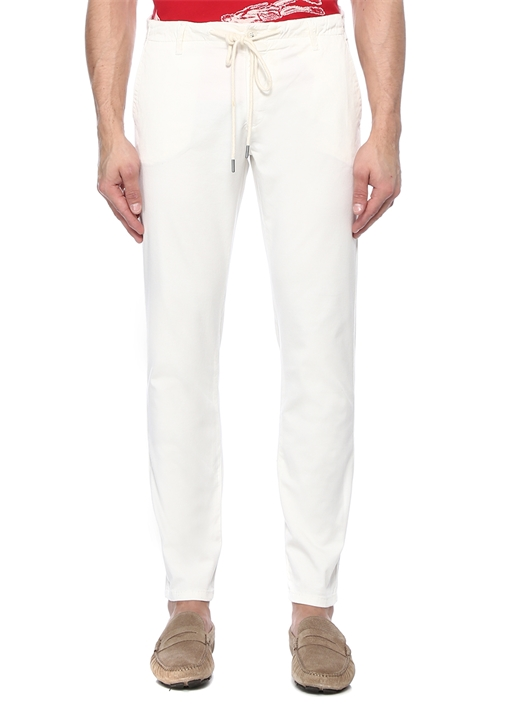 Beyaz Keten Kordonlu Boru Paça Spor Pantolon