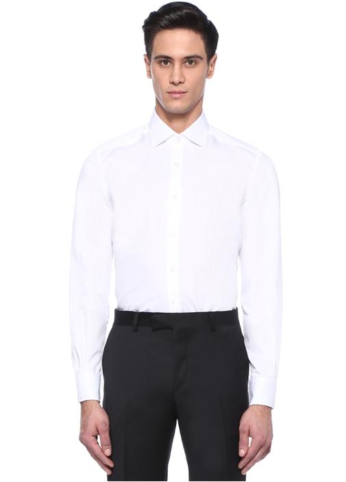 Non Iron Comfort Fit Beyaz Armürlü Gömlek
