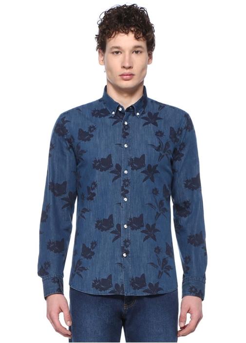 Slim Fit Lacivert Tropikal Baskılı Denim Gömlek