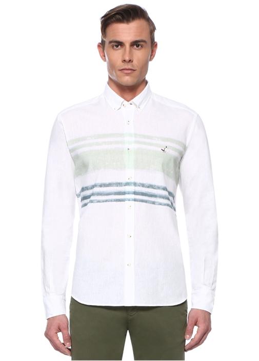 Comfort Fit Beyaz Yeşil Degrade ÇizgiliGömlek
