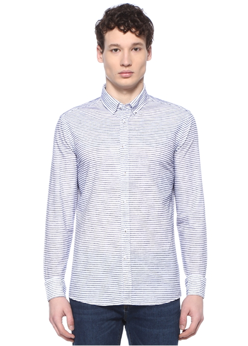 Slim Fit Beyaz Düğmeli Yaka Şönil Çizgili Gömlek