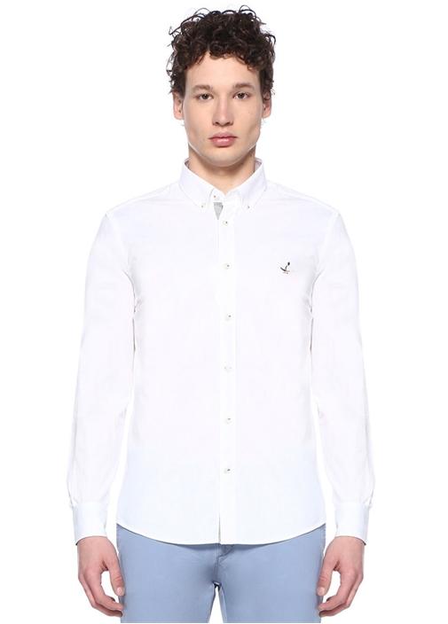Slim Fit Beyaz Düğmeli Yaka Desenli Gömlek