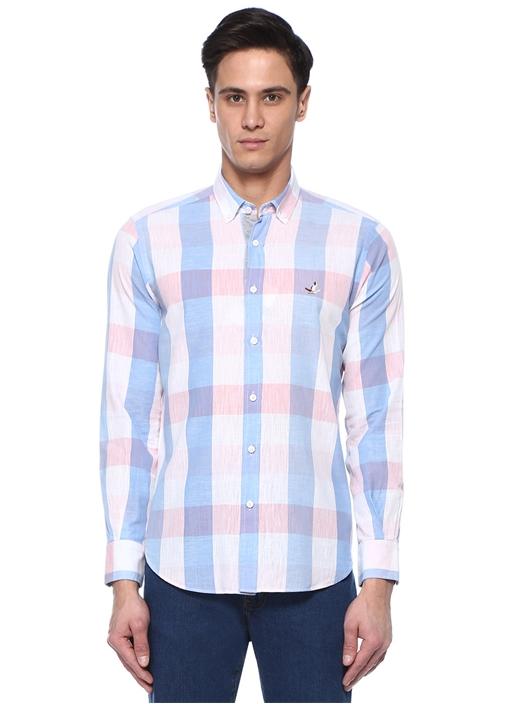 Comfort Fit Pembe Düğmeli Yaka Ekoseli Gömlek