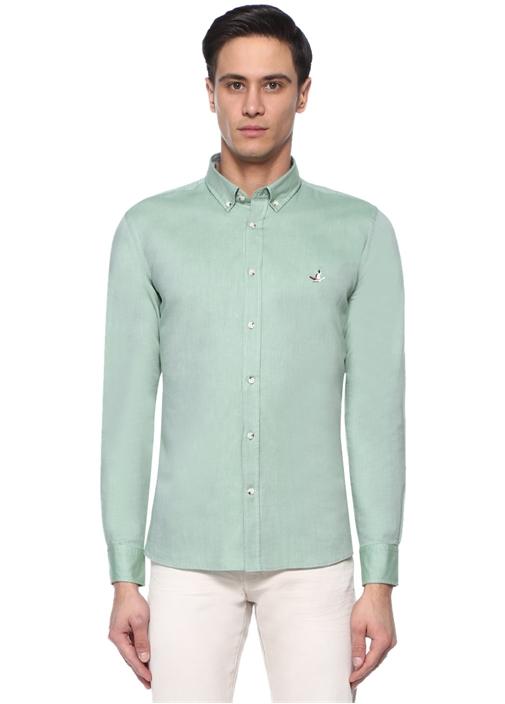Slim Fit Yeşil Düğmeli Yaka Logolu Gömlek