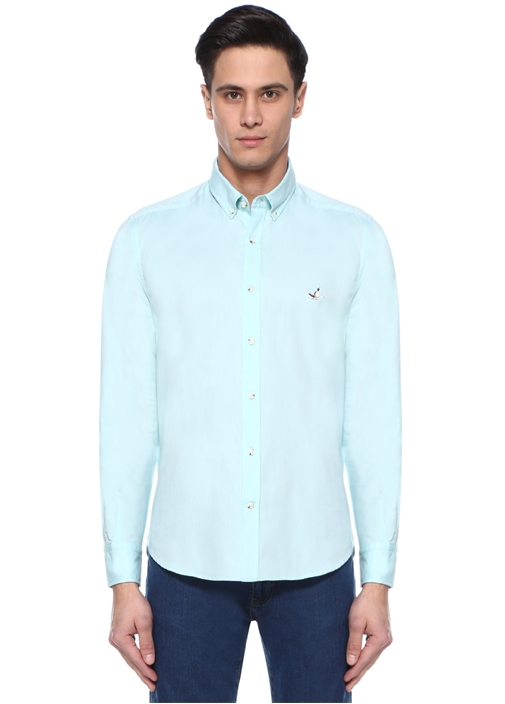 Comfort Fit Yeşil Düğmeli Yaka Oxford Gömlek