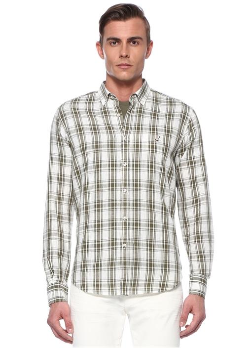 Comfort Fit Yeşil Düğmeli Yaka Ekoseli Gömlek