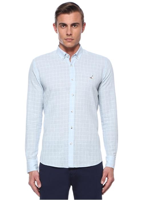 Slim Fit Mavi Düğmeli Yaka Bukle Ekoseli Gömlek