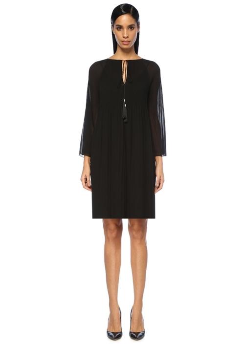 Siyah Yakası Bağlı Pileli Midi Şifon Elbise