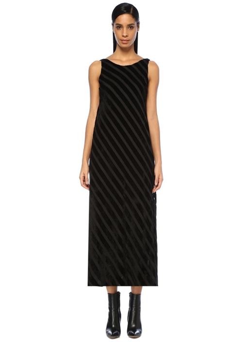 Siyah Çizgili Sırtı Açık Midi Kadife Elbise
