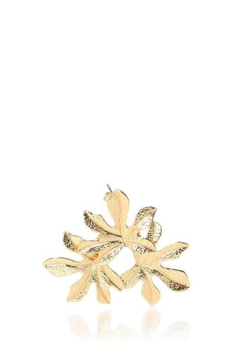 Gold Yaprak Formlu Kadın Küpe