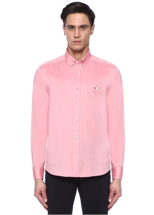 Comfort Fit Pembe Düğmeli Yaka Oxford Gömlek
