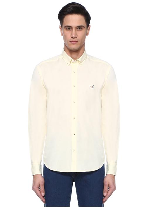 Comfort Fit Sarı Düğmeli Yaka Oxford Gömlek