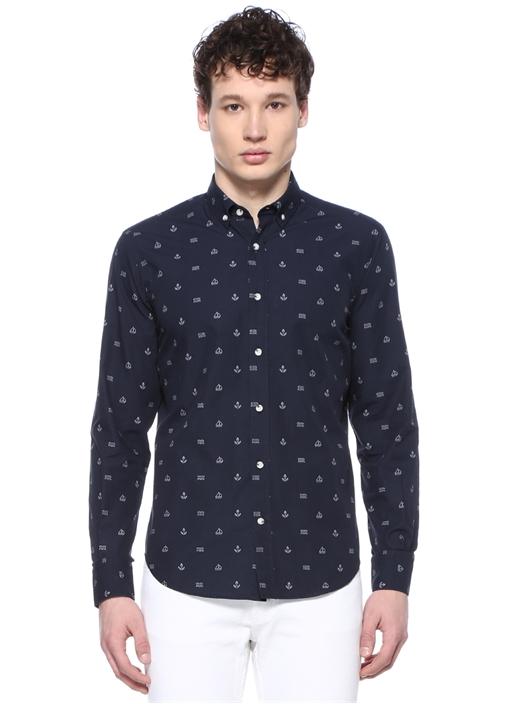 Comfort Fit Lacivert Denizci Baskılı Gömlek