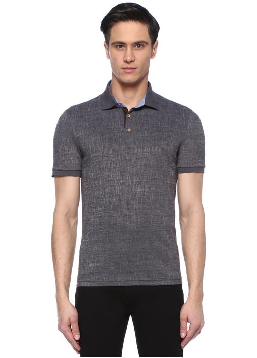 Slim Fit Antrasit Polo Yaka Dokulu Oxford T-shirt