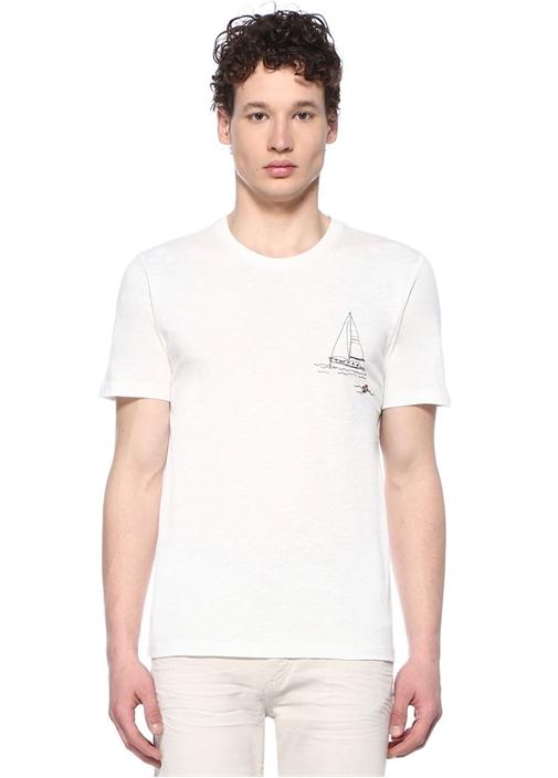 Beyaz Bisiklet Yaka Yelken Nakışlı T-shirt