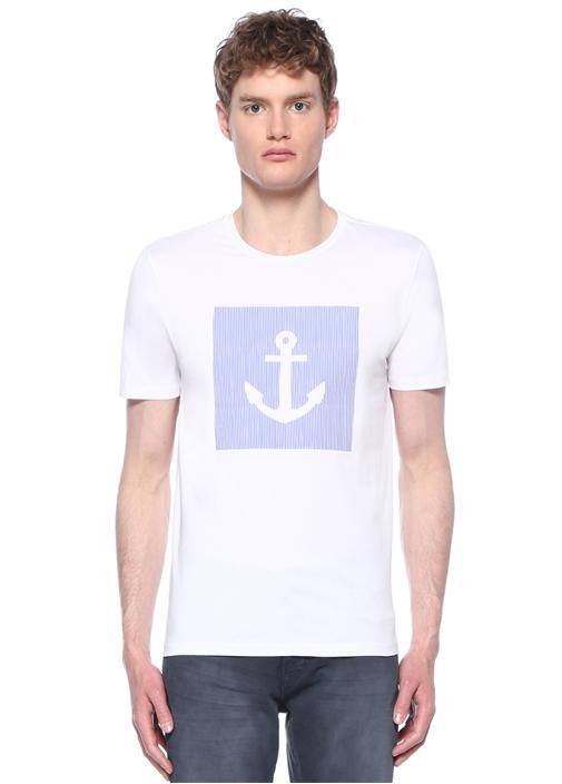 Beyaz Mavi Bisiklet Yaka Çapa Baskılı T-shirt