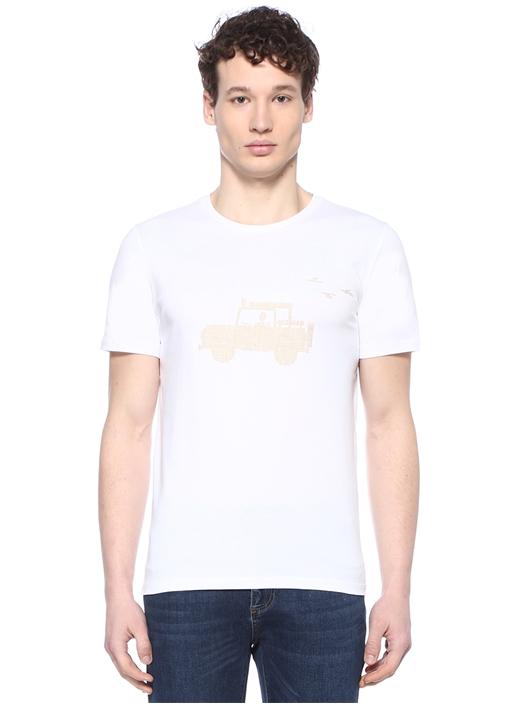 Beyaz Bisiklet Yaka Keten Baskı DetaylıT-shirt