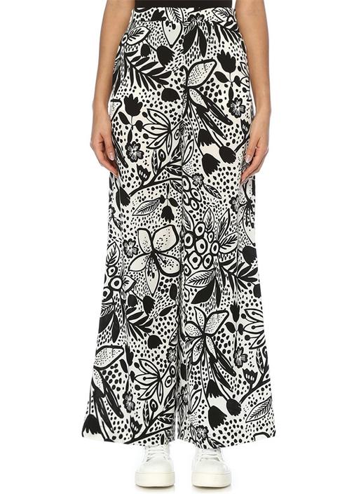 Siyah Beyaz Yüksek Bel Çiçek Desenli Pantolon