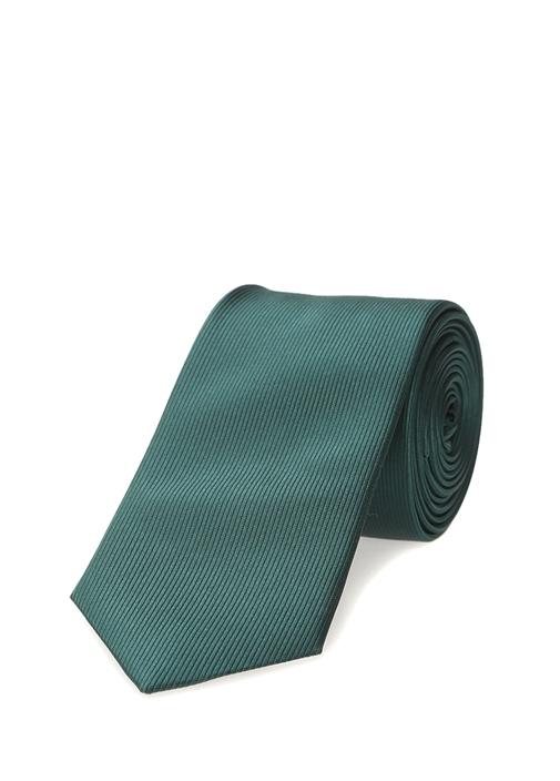 Yeşil Çizgi Dokulu Kravat