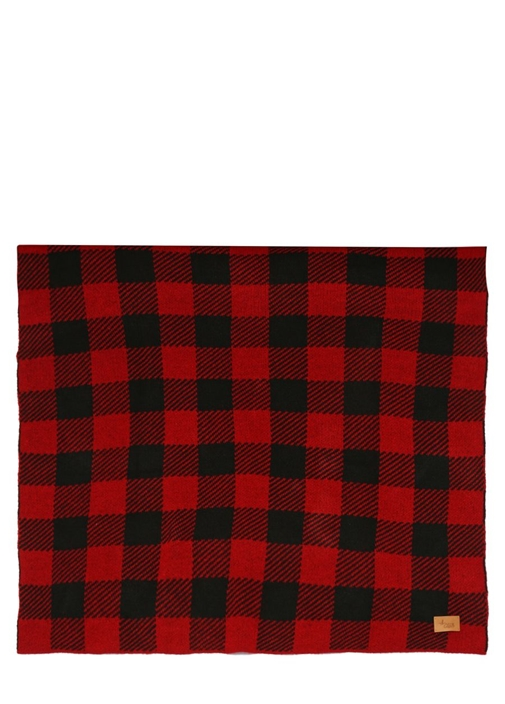 Kırmızı Siyah Ekose Desenli Battaniye