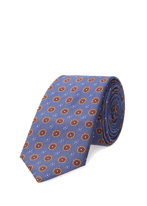 Mavi Çiçek Desenli Kravat