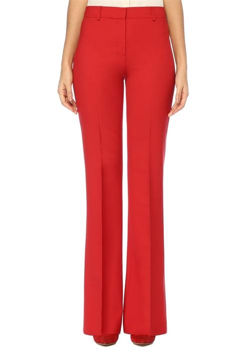 Kırmızı Yüksek Bel Bol Paça Yün Pantolon