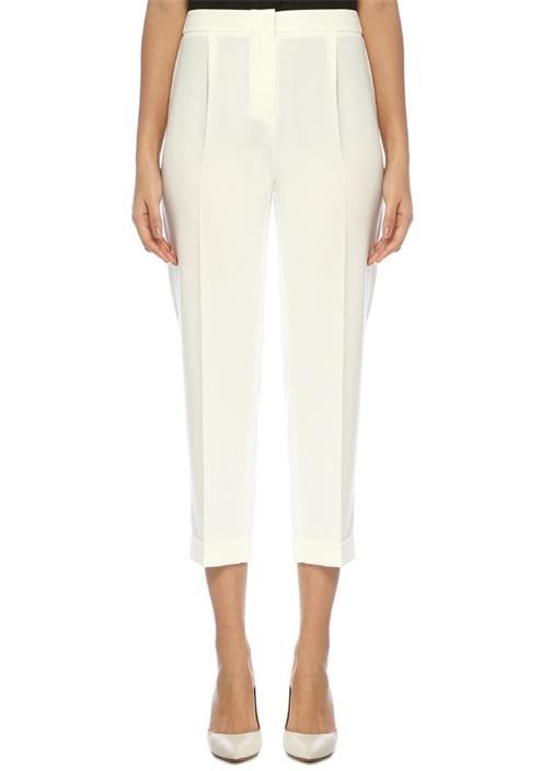 Beyaz Yüksek Bel Pijama Formlu Krep Pantolon