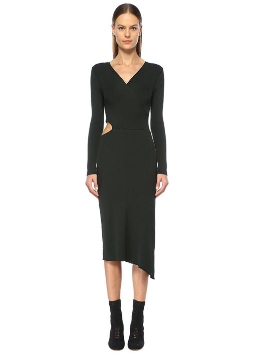 Mimi Koyu Yeşil V Yaka Dekolteli Midi Elbise
