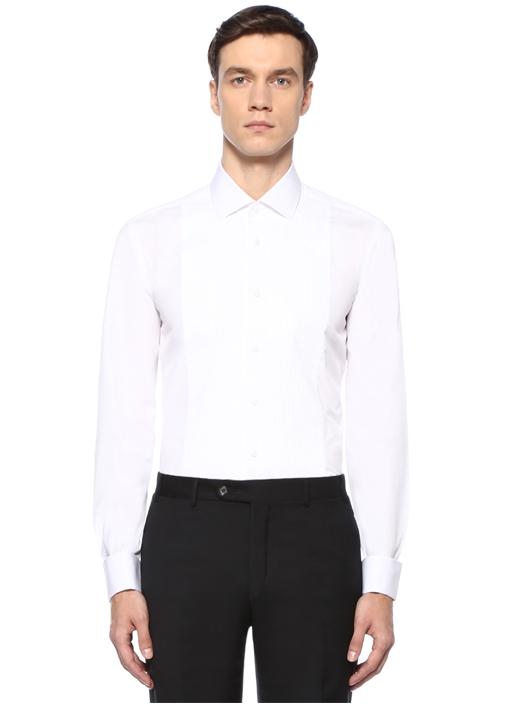 Beyaz İngiliz Yaka Plise Detaylı SmokinGömleği