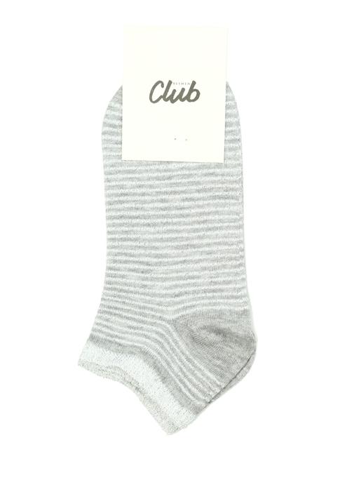 Gri Sim Dokulu Logo Baskılı Kadın Çorap