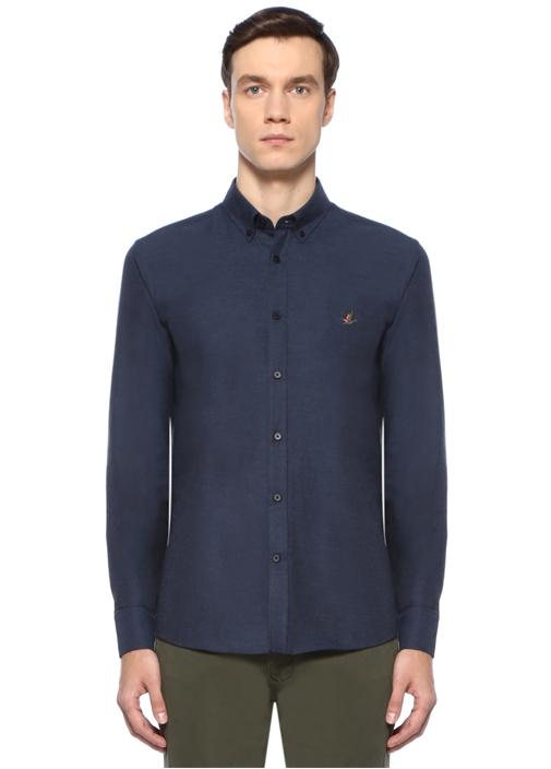 Slim Fit Denim Görünümlü Flanel Gömlek