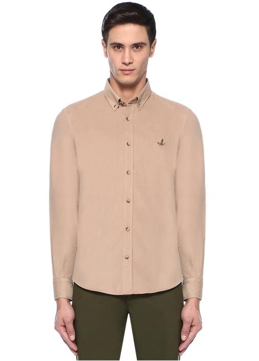 Comfort Fit Kamel Düğmeli Yaka Kadife Gömlek
