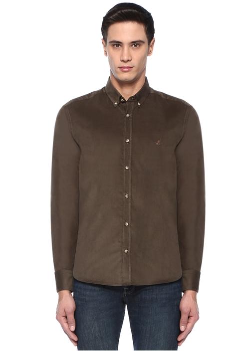 Comfort Fit Haki Düğmeli Yaka Kadife Gömlek