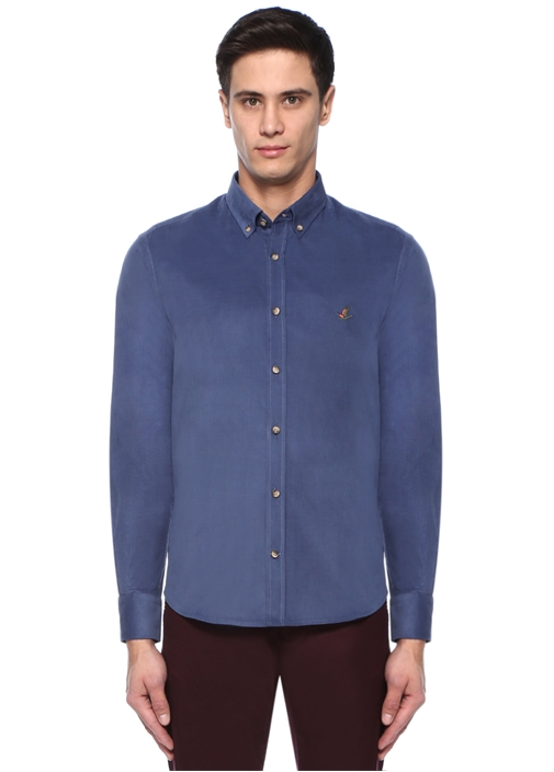 Comfort Fit Mavi Düğmeli Yaka Kadife Gömlek