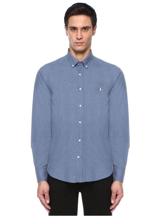 Comfort Fit Mavi Logo Nakışlı Gömlek