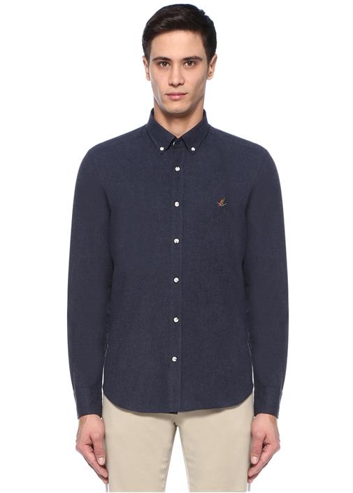 Comfort Fit Mavi Düğmeli Yaka Flanel Gömlek